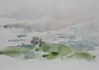 Landschaft um Holzhausen 1986 23 x 36 cm Aquarell