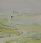 Weg bei Holzhausen 1987 19 x 19 cm Aquarell