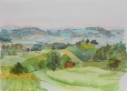 Landschaft um Nägelsdorf 1987 26 x 40 cm Aquarell